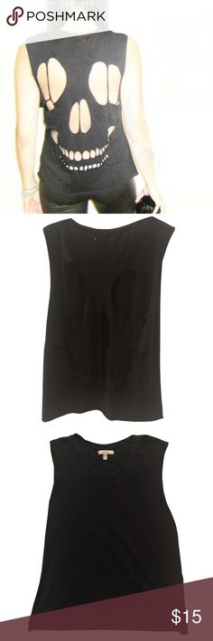 "Zara Cut Out Skull Tank Solid black tank with skull cut out pattern at back side.  Raw edge hem.  Size small.  21 1/2"" body length. Perfect for Halloween ! Zara Tops Tank Tops"