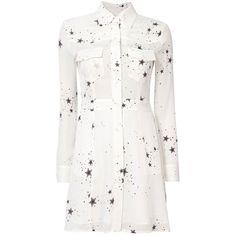 A.L.C. Women's Pedro Star Blouse Dress ($359) ❤ liked on Polyvore featuring dresses, white, white silk dress, collar dress, long sleeve silk dress, star print dress and white dress