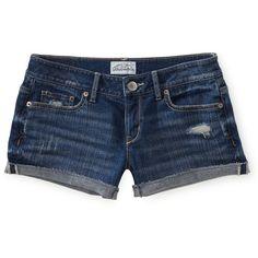 Destroyed Medium Wash Denim Shorty Shorts ($28) found on Polyvore