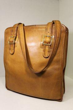 Vintage COACH Tan SLIM TOTE SATCHEL BAG Handbag NYC Rare Grunge RETRO 60's 70's #Coach #SlimTote