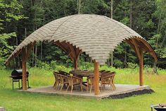 Few things are more calming than relaxing in a gazebo or taking a scenic walk through a pergola. If you have a large backyard, you should get a gazebo as well. Backyard Gazebo, Garden Gazebo, Backyard Patio Designs, Backyard Landscaping, Backyard Ideas, Patio Ideas, Garden Dress, Pergola Roof, Pergola Designs
