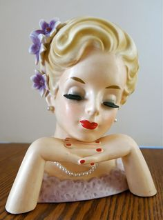 Amazing 7 Inch, 2 Handed, Vintage INARCO E-534C Lady HEADVASE Head Vase Dated 1961 Lavendar on Etsy, $215.00
