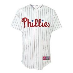 MLB Philadelphia Phillies Carlos (Chooch) Ruiz White/Scarlet Pinstripe Short Sleeve 6 Button Synthetic Replica Baseball Jersey Spring 2012 Men's --- http://www.pinterest.com.luvit.in/475
