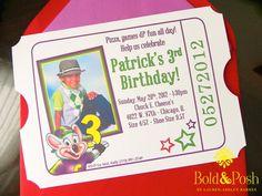 Chuck E Cheese Birthday Invite by BoldandPosh on Etsy