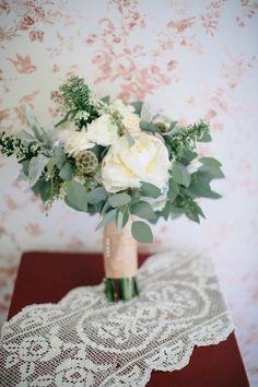 White wedding bouquet eucalyptus.