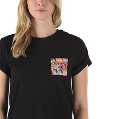 Vans and Disney come together for a magical collaboration that reimagines some of the most beloved and iconic Disney Princesses. Bringing to life their everlasting stories of adventure, the Princess Rocker Tee is a 100% cotton rocker slim fit tee with 26-inch HPS, a small Off The Wall logo on the back, and a front pocket featuring an allover print of Snow White, Cinderella, Aurora, Ariel, Belle, and Jasmine. Model is 5 feet 9 inches tall and wearing a size Small.