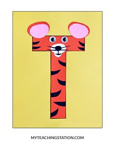 Letter T Craft: Tiger Letter of the week craft activity: Letter T is for Tiger. Simple and easy letter craft for children in or Letter T Activities, Preschool Letter Crafts, Alphabet Letter Crafts, Abc Crafts, Kindergarten Crafts, Alphabet Book, Preschool Activities, Letter Tracing, Crafts For Letter A