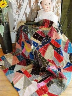 Antique Velvet Crazy Quilt Crib or Table Size Beautiful Stitching Victorian | eBay