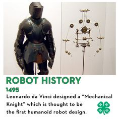 """Here's some 'bot history for your #ScienceSaturday! Did you know Leonardo da Vinci designed a """"Mechanical Knight,"""" which is thought to be the first humanoid robot design? His sketches and concepts of robotic movement were so advanced, they inspired the creation of robots used by NASA and the International Space Station today."""