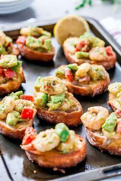 Garlic Prawn and Avocado Crostini on https://cafedelites.com