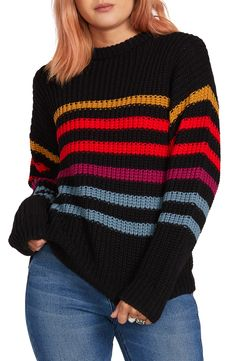 Shop a great selection of Volcom Move On Up Stripe Sweater. Find new offer and Similar products for Volcom Move On Up Stripe Sweater. T-shirt Au Crochet, Crochet Shirt, Diy Clothes, Clothes For Women, Knitting Machine Patterns, Sweater Making, Knit Jacket, Crochet Fashion, Top Pattern
