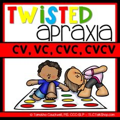Twisted Apraxia cards to target CV, VC, CVC, and CVCV structures. These cards are color coded and state right/left hand or foot and can be used with a Twister mat.  Make two copies of the product to play matching games or go fish. This packet is an extension companion to build speech and language skills.**********************************************************CONTENTS:Color coded cards stating right/left and hand/foot for following: CV words (32 cards)VC words (32 cards) $4.50