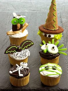 Fun Halloween Cupcakes in Dk. Brown, Green and White!