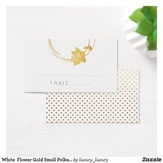 White  Flower Gold Small Polka Dots Table Card