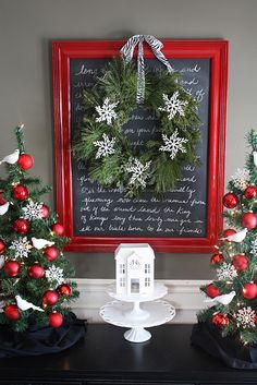 paint on old frame and spray glass with chalkboard paint, then write lyrics to a christmas song on the board. cute!