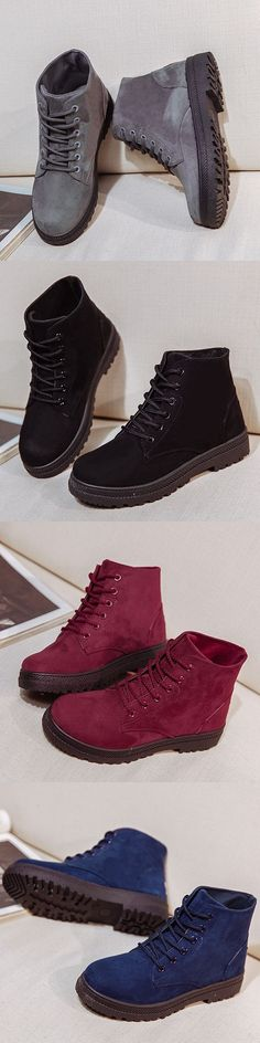 US$17.12 Big Size Pure Color Suede Lace Up Ankle Casual Boots For Women