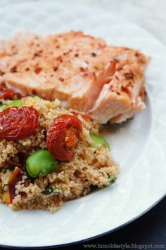Salmon with broad bean grapefruit couscous