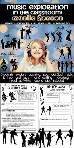 Explore music by genre! Explore music by genre! Musik Genre, Elementary Music Lessons, Middle School Music, Music Lesson Plans, Music Activities, Music Classroom, Classroom Ideas, Music Therapy, Teaching Music