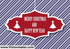 Christmas vector illustration with lines background and red banner with Merry Christmas and Happy New Year text. Download Christmas vector illustration in Adobe Illustrator.
