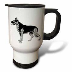 3dRose German Shepard Dog, Travel Mug, 14oz, Stainless Steel