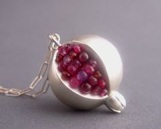 Pomegranate Pendant - Red Pink Gemstones Matte/Brushed Silver. $375.00, via Etsy.