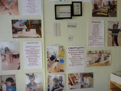 This is an example of how teacher might display photos that reflect current experiences in a particular space of the classroom accompanied by words that speak to the general expectations of what learning experiences children might be encountering in that space. This style of display speaks to both children and adults as the audience.