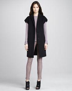 -4FNH J Brand Ready to Wear Paola Short-Sleeve Wool Coat, Federica Fold-Shoulder Top & Morgan Leather Skinny Pants