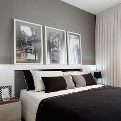 Simple B&W bedroom decor. Love those floating frames. Are you looking for unique and beautiful art photo prints to create you pr gallery wall... Visit bx3foto.etsy.com