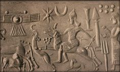 Ancient Sumerian cylinder seal depiction