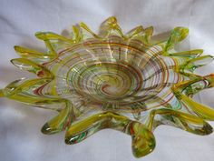 """Vintage Murano style Hand blown Colorful Art Glass Candy Dish 11"""" wide"""