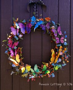 Rainbow butterfly wreath for Spring (Armour Cottage) Tags: door flowers summer color wall easter outside spring colorful butterflies wreath eggs Spring Door Wreaths, Summer Wreath, Christmas Wreaths, Easter Wreaths Diy, Rainbow Butterfly, Butterfly Crafts, Diy Butterfly Decorations, Summer Door Decorations, Butterfly Art
