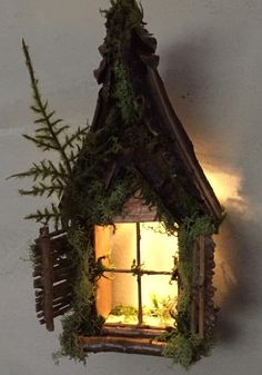 Fairy Window with Gabled Pinecone Accent Dormer / Delicate Twinkling Light ~ Handcrafted by Olive Fairy Accessories, Fairy House, Fairy Door - Gartenzubehör Miniature Fairy Figurines, Miniature Fairy Gardens, Fairy Garden Furniture, Fairy Garden Houses, Deco Nature, Fairy Tree, Fairy Crafts, Fairy Garden Accessories, Fairy Doors