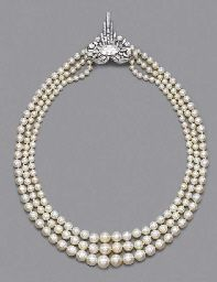 A RARE ART DECO PEARL AND DIAM