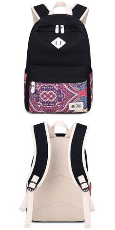 Element:Totem/Floral/Elephant NoseCapacity:Can hold 14 inch paper/inner zipper pockets Canvas Backpack, Travel Backpack, Fashion Backpack, Cute Backpacks, School Backpacks, High School Bags, Large Canvas, School Fashion, Purses