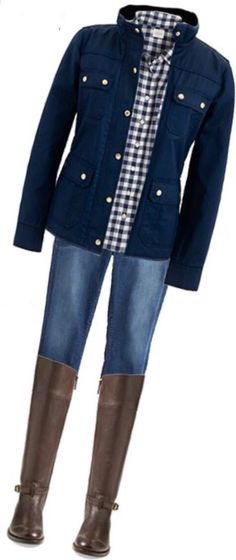 navy gingham buttondown, navy blazer or navy open sweater cardigan jacket, jeans, dark brown boots