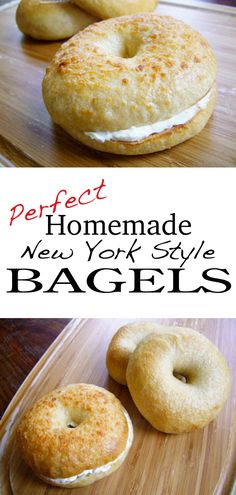 If you dont live in New York or in a city big enough to have a real New York style bagel shop then please try these bagels! Bread Machine Recipes, Bread Recipes, Cooking Recipes, Juice Recipes, Smoothie Recipes, How To Make Bagels, Food To Make, Breakfast Desayunos, Breakfast Recipes