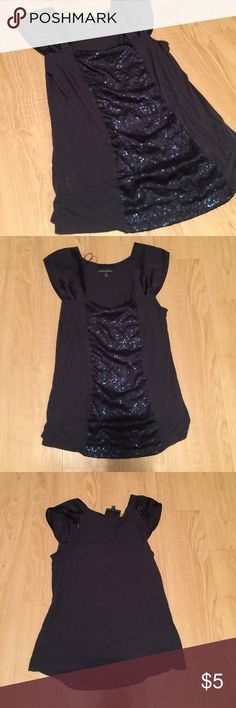 Cynthia Rowley Navy Tank Top Perfect for around the office. Make it an easy outfit of favorite pants, this tank and a sweater! The top has flattering sequins that forms to body. Great deal and good condition! Size small but I would say fits more of a medium. Bundle and save! Cynthia Rowley Tops Tank Tops