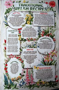 (C) Welsh Tea Towel (Large) - Traditional Welsh Recipes (Beige) - from Welsh Gifts, available with fast despatch! Welsh Recipes, Scottish Recipes, Tea Recipes, Learn Welsh, Welsh Gifts, Different Types Of Tea, Yorkshire Tea, Cream Tea, Cymru