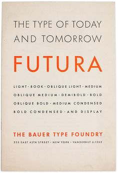 Specimen of Futura issued by the New York City sales office of the Bauer type foundry. The back cover lists 16 other Bauer representatives across the Unites States to emphasize the foundry's international position.