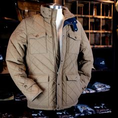 Buffalo Jackson | Men's Highlands Quilted Jacket $239.95 http://buffalojackson.com/highlands-quilted-jacket-waxed-cotton-khaki.html
