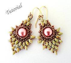 seed beaded earrings patterns | ... beadweaving beading pattern beaded twin seed bead jewelry - PINEAPPLE