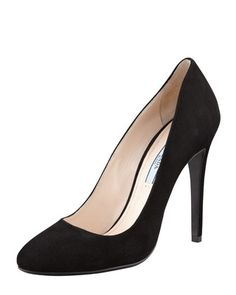 Prada Suede Round-Toe Pump, Black We believe these are the shoes worn by Kate to the Mandela film premiere Dec. 5, 2013