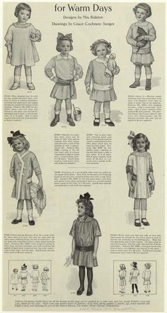 1910 Little girl's clothing, warm day attire, callot soeur-styled clothing