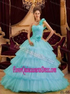 Blue A-line One Shoulder Floor-length Sweet Sixteen Quince Dresses with Ruffles