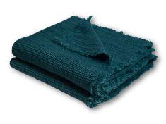 "Pikee Leinenplaid ""Honeybee Deep Pacific"" von Zoeppritz - Bedandroom Towel, Deep, Products, Short Fringe, Linen Fabric, Textiles, Blue, Paradise, Crickets"