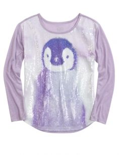 Photoreal Sequin Critter Tee | Girls Long Sleeve Tops | Shop Justice