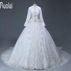Custom Made Heavy Beading Lace Applique White Ball Gown Muslim Wedding Dress 2016 Formal Arabic Dresses Wedding Party(WDS-060) #WeddingDressesLace