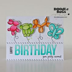 """AVERY ELLE: More Party Animals (4"""" x 6"""" Clear Photopolymer Stamp Set) This package contains More Party Animals: 25 sentiment and image stamps. - Bunny balloon stamp measures : 1 5/16"""" x 1 1/2"""" - Snake"""