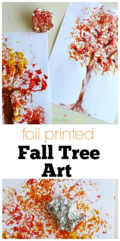 Foil Printed Fall Tree Art- using aluminum foil, fall paint colors, and paper.Art and Crafts 1 Foil printed Fall Tree Art! This is a great fall preschool art project, so easy!Foil Printed Fall Tree Art - Munchkins and Moms Foil Printed Fall Tree Art- Kids Crafts, Preschool Art Projects, Fall Art Projects, Preschool Crafts, Thanksgiving Art Projects, Fall Art Preschool, Craft Projects, Kindergarten Fall Art Lessons, Art Projects For Kindergarteners