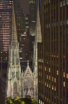 NYC. St. Patrick Cathedral by Night Beautiful...one of the prettiest things I've ever seen